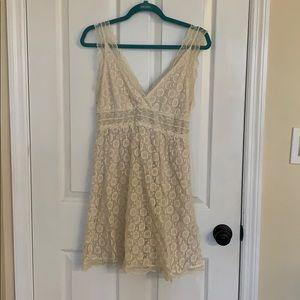 Ivory lace v neck dress
